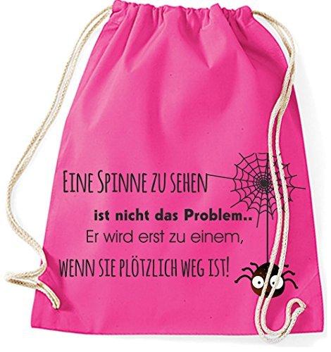 Mein Zwergenland Jutebeutel Eine Spinne zu sehen ist nicht das Problem, 12L, Surfblue Pink