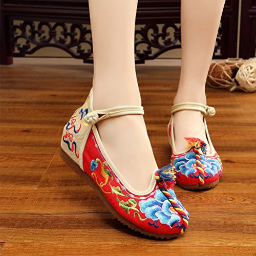 Zhhlaixing 3 Colors Beautiful Womens Casual Cloth Shoes Classical Embroidered Shoes red