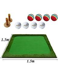 WENZHE Alfombra De Práctica Golf Putting Estera Tee Swing Ejercicio Interior Afuera Suela De Goma 1.5 * 1.5 M