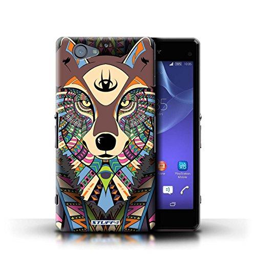 Kobalt® Imprimé Etui / Coque pour Sony Xperia A2 / Loup-Pourpre conception / Série Motif Animaux Aztec Loup-Couleur