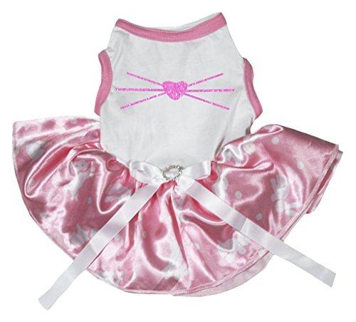 Petitebelle Pet Supply Easter Bunny Nose White Top Rabbit Dots Pink Tutu (Pet Pink Ribbon Kostüme)