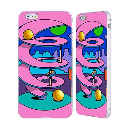 Ufficiale Howie Green Strisce Cuore Cerchio Argento Cover Contorno con Bumper in Alluminio per Apple iPhone 6 Plus / 6s Plus Cerchio Rosa
