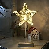 XIAOBIDENG 40 * 20 cm LED Hand-Knit Sterne Herzen Tischleuchte drahtlose Batterie Warm Weiße Nacht Licht Laterne für Dekoration Led Bureaulamp