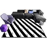 Home - Carpet ZWD Gestreifte Teppich, Teetisch Schwarz Weiß Teppich Schlafzimmer Veranda Teppich Coffee Shop Bodenmatte | 80-140 cm In Länge Haushaltswaren (Farbe : A, größe : 100 * 160cm)