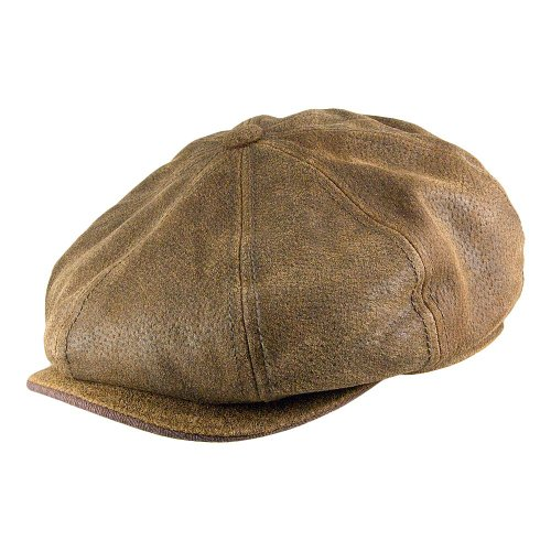 Village Hats Casquette Gavroche en Cuir Burney STETSON - LARGE