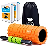 Iuga y la terapia de masaje 2en 1Set, Trigger Point–Liberación miofascial–Rodillo de espuma muscular rodillo para fitness, Crossfit, Yoga y Pilates, naranja