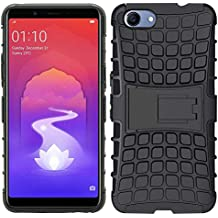 Oppo Realme 1 Dual Layer Tough Rugged Shockproof Hybrid Warrior Armor Case Back Cover with Kickstand for Real Me1 (Black)