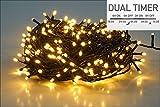 LED Lichterkette 120 LED - warmweiß - für den Innen- und Außenbereich - mit Dual Timer für Morgens und Abends (9 m - 120 LED)