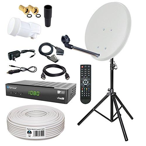 HB-DIGITAL Sat-Komplett-Set: Mini Sat Anlage 40cm Schüssel Hellgrau + LNB 0,1 + 10m Kabel + Receiver + Stahl Stativ 120cm für HDTV geeignet
