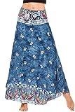 Meaneor Women Bohemian Style Self-Tie Belt High Waist Print Irregular Hem Long Skirt