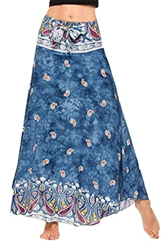 Meaneor Women Bohemian Style Self-Tie Belt High Waist Print Irregular