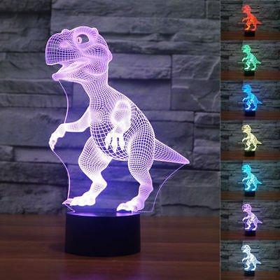 LED Nachtlicht Magical 3D Dinosaur Visualisierung Amazing Optische Täuschung Touch Control Light 7 Farben ändern für Kinderzimmer Home Decoration Best Geschenk