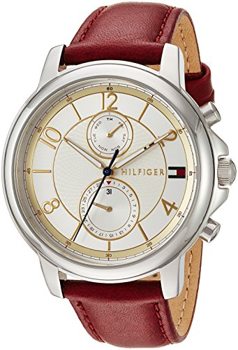 Tommy Hilfiger Women's 'Sophisticated Sport' Quartz Stainless Steel and Leather Casual Watch, Color:Red (Model: 1781816)