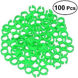 UEETEK 100Pcs Bandas de pierna de aves pájaro Paloma anillos de pato clip (Verde)