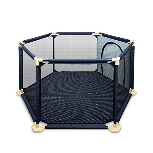 faltbares laufgitter Kinder Laufstall BIGWING Style Playpen zusammenklappbar tragbares Laufgitter (Blau)
