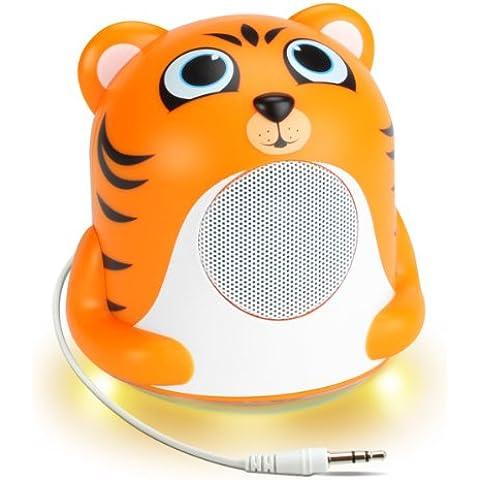 Altavoz Portátil para Niños - Groove Pal Jr. Tiger con Luz LED Naranja Brillante – ¡El regalo perfecto! Compatible con PSP Street / PSP SLIM Black / PS Vita… ¡Y muchos
