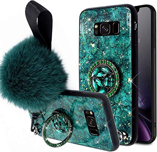 Herbests Compatible per Samsung Galaxy S8 Plus Custodia Ultrasottile Silicone Cover con Anello Sparkle Glitter Bling a Strass + Hairball Case Cover Antiurto Anti Scratch Custodia,Verde