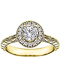 Silvernshine 1.18 Carat White Diamond 10k Yellow Gold Silver Wedding Ring For Womens