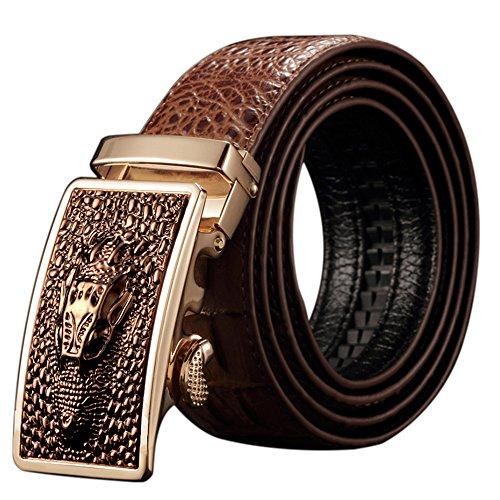 Männer Western Gürtel Für Leder (DAMOS Gürtel Herren Leder mit Krokodil-Muster und automatische Schnalle)