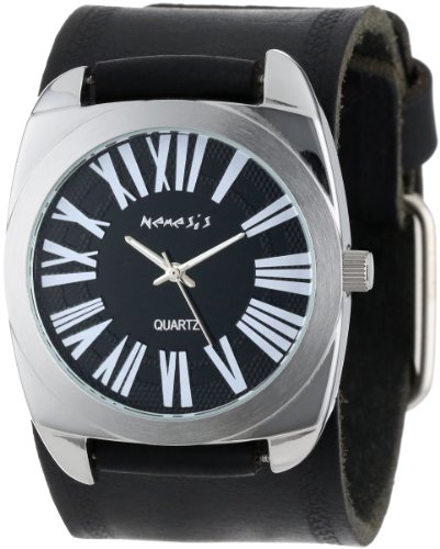 Nemesis Women's HST098K Black Collection Retro Roman Leather Band Watch