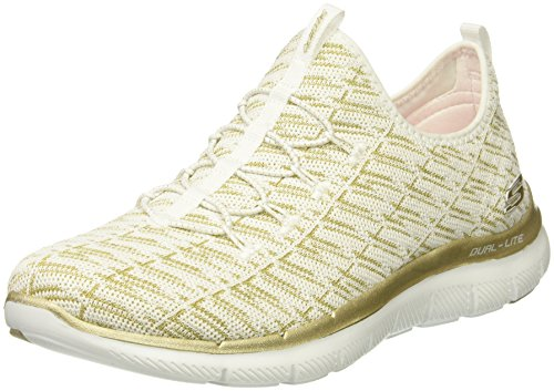 Skechers Flex Appeal 2.0-Insights, Sneaker Infilare Donna White/Gold
