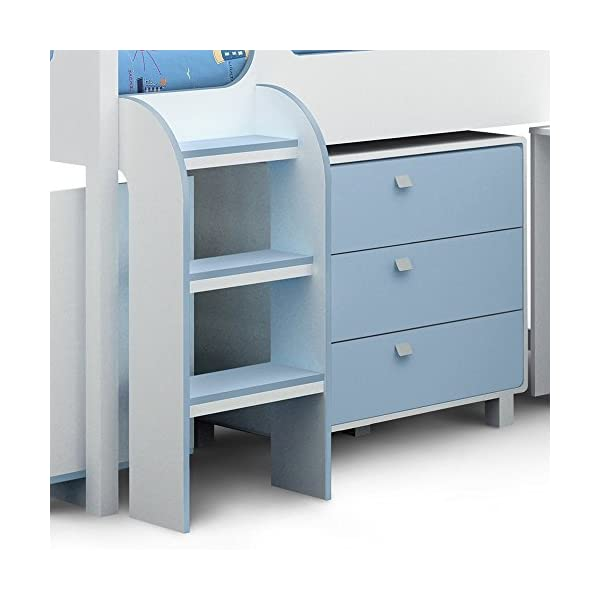 Julian Bowen kimbo cabin bed in blue Julian Bowen Brilliant pull out desk. Shelves and chest of drawers for storage. Cupboard at end of bed for more storage 2