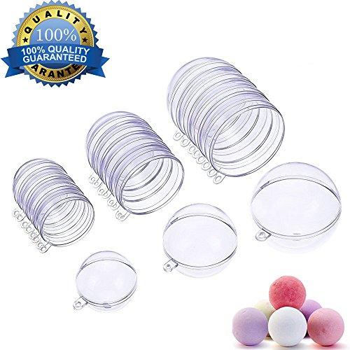 Moules de bombe de bain, Shineus bricolage en plastique transparent moule de bombe de bain décoratif pour noël ornement de boule de mariage partie lot de 15