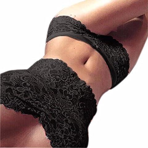 Conjunto de sujetador, Fortan Tubo cordón de las mujeres Top resumen la ropa interior Set