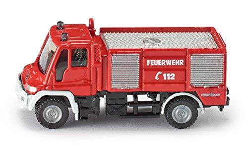 SIKU 1068 - Camion De Pompiers Unimog, 1:87, Métal/Plastique, Rouge, Pneus En Caoutchouc, Jouet Pour Enfants