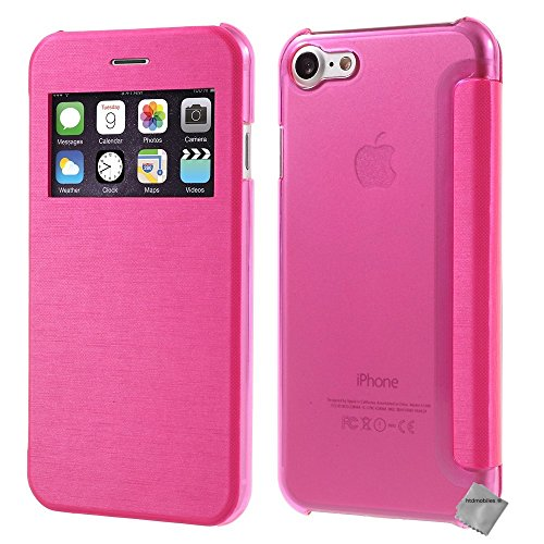 Housse etui coque portefeuille view case pour Apple iPhone 7 + verre trempe - OR Rose view + verre