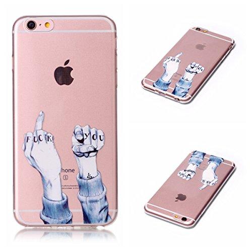 iPhone 6 Plus/6S Plus 5,5 Coque, Voguecase TPU avec Absorption de Choc, Etui Silicone Souple, Légère / Ajustement Parfait Coque Shell Housse Cover pour Apple iPhone 6 Plus/6S Plus 5,5 (Red-grue couron doigt 01