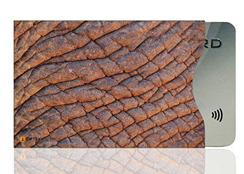 OPTEXX® 1x RFID Schutzhülle Elefanten Haut TÜV geprüft & zertifiziert für Kreditkarte | EC-Karte | Personal-Ausweis Hülle sicheres Blocking von Funk Chips