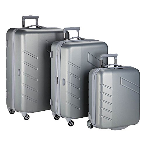 Travelite Koffer Tourer - 4 Rad Trolley-Set L/M/2-Rad, 76 cm, 235 Liters, Silber