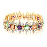 AieniD - Pulsera Mujer Joven Arco Iris Cristal Corona Cadena 19Cm Brazalete de Oro para Mujer