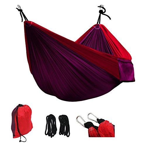 Suyi Hamac de camping double camping avec sangles crochet resistant 500 lb pour parachute 300 * 200 cm,portable pliable avec Sac de rangement, parfait pour la randonée Camping et voyage
