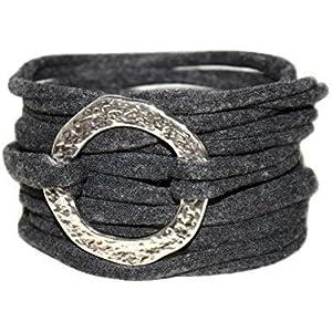 Endlosarmband - Stoffarmband anthrazit - zum Wickeln mit Metallelement - onesize - mit vielen verschiedenen Metallelementen