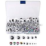Siming Yeux Mobiles Autocollants, Yeux Tremblants en Plastique Wiggle Eyes Lisse Accessoire Bricolage Décoration pour DIY Craft Jouet Tissu (1400 Pcs, Noir)...