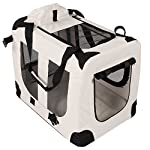 TRESKO® Folding Portable Soft Fabric Pet Carrier with Fleece Mat and Food Bag (S 49 x 32 x 35 cm, Beige) 14