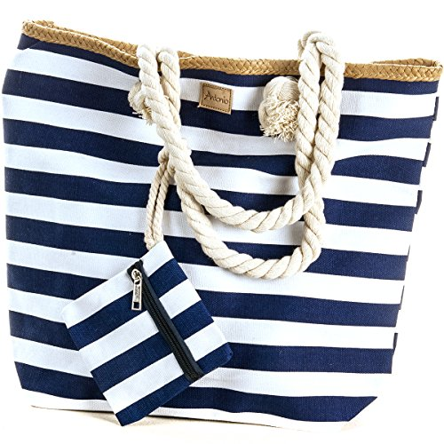 Strandtasche Strand Tasche Beach Bag Shopper marine Streifen maritim blau 44 x 38 x 13 cm (Handtasche Damen Tasche Große Strand)
