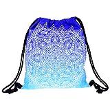 Yokata Kordelzug Sporttasche für Damen Herren, Rucksack Turnbeutel für Mädchen Junge,Umhängetasche Schultertaschen für Teenager Kinder,Fit den Sport Schule Turnhalle - Blaue Mandala