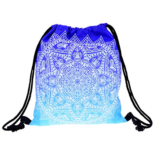 Yokata Cute Pattern Drawstring Bag for Girls , Gym Bag for Boy , Shoulder Bag Backpack for Women Men , Perfect for Sport School Travel - Blue Mandala