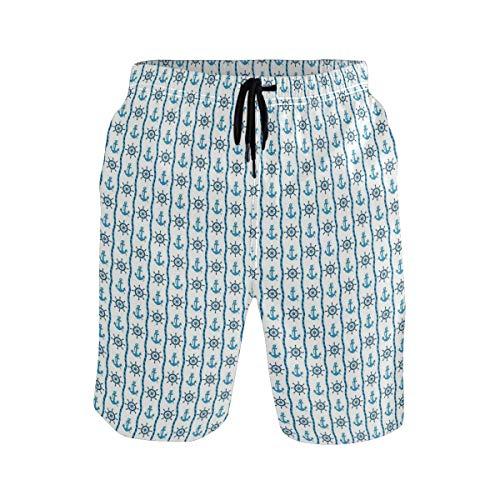 Men's Summer ShortsShield Design Art with Crest Badge Medallion Angel Ro,Size:Large (Herren Logo-medallion)