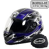 Yorbay Motorradhelm Integralhelm Sturzhelm Helm mit verschienden Typen & in unterschiedlichen Größen (Blau, M)