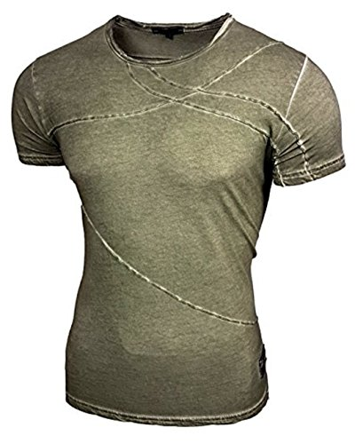 Rusty Neal Herren Fashion T-Shirt Kurzarm Hemd Slim Fit 15051 Khaki