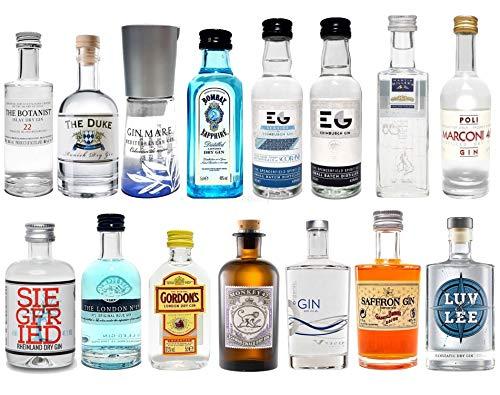 Gin Mini Set Probierset 15er - Saffron + Bombay + Edinburgh + Gin Mare + Gordons + Monkey 47 + Organic + Siegfried + The Botanist + Duke + London No1 + Luv & Lee + Millers + Marconi 46