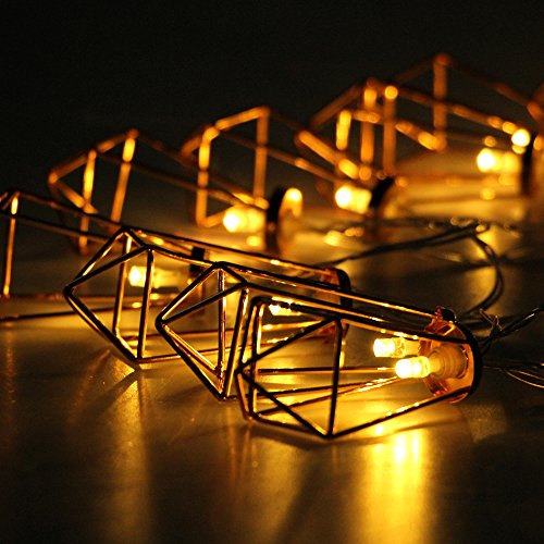 Rustic Metal String Lights : Buy Geometric Lights - Metal String Lights Battery Operated Fairy Lights Rose Gold Rustic ...