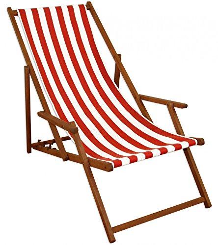 Sdraio Da Spiaggia Legno.Lettino Prendisole Sdraio Da Giardino Rosso Bianco Spiaggia Legno
