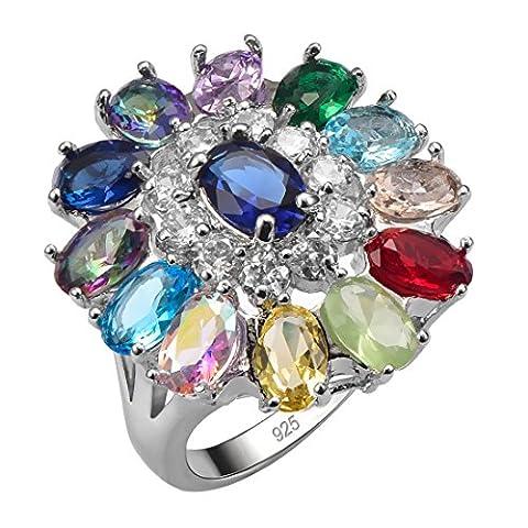 Weinuo Blue Topaz Garnet Prehnite Aquamarine Ruby Amethyst Emerald Morganite Multi Color 925 Sterling Silver Ring Size T1/2