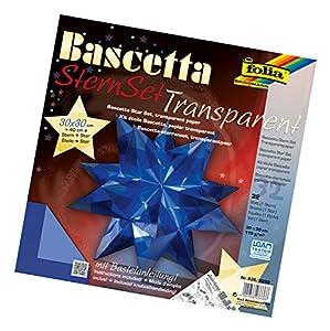 Folia 836/3030  Bascetta - Set de papeles transparentes de 30 x 30 cm para construcción de estrellas (32 hojas) color azul Importado de Alemania