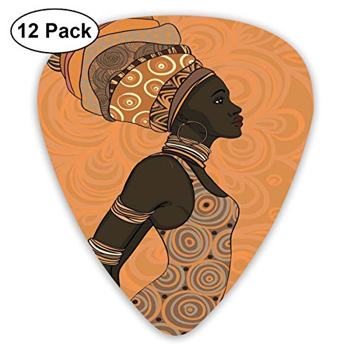 ks - 12 Pack,Abstract Art Colorful Designs,Indigenous People Of Africa Theme Local Woman In Traditional Turban And Dress,For Bass Electric & Acoustic Guitars. ()